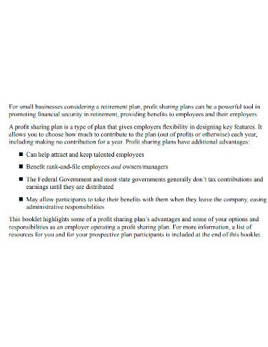 small business profit sharing plan