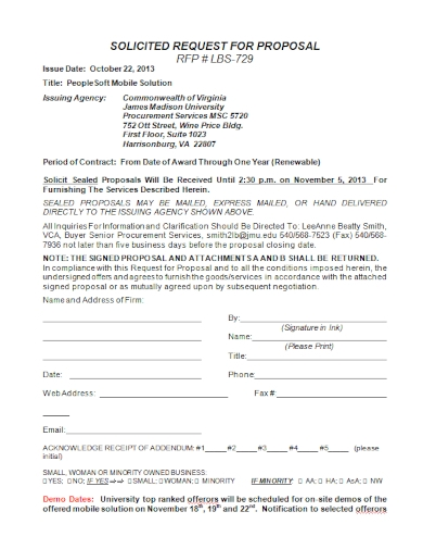 solicit sealed request for proposal