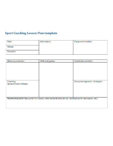 sports coaching lesson plan