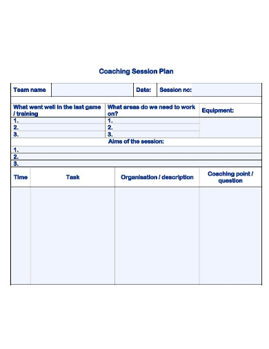 sports coaching plan samples