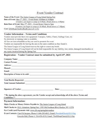 spring fair event vendor contract
