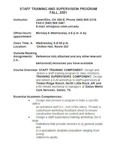 staff training supervision program