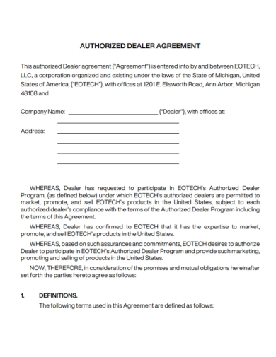 standard authorized dealer agreement