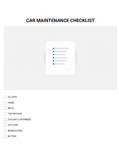 standard car maintenance checklist