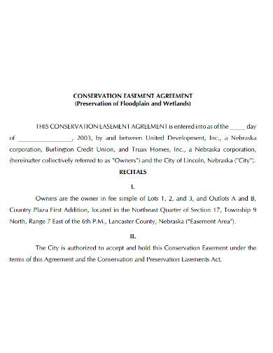 standard conservation easement agreement