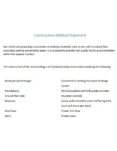 standard construction method statement