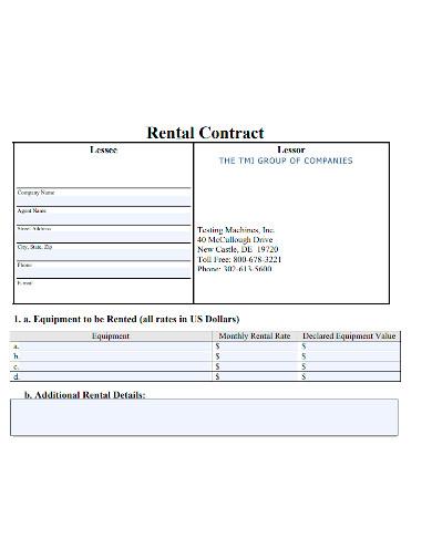 standard equipment rental contract
