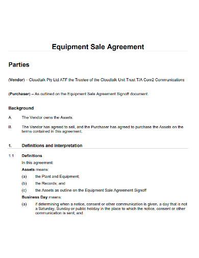 standard equipment sale agreement