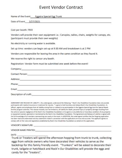 standard event vendor contract