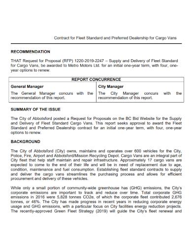 standard fleet dealership contract