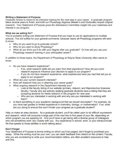 standard grad school statement of purpose
