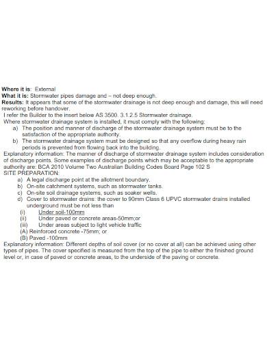 standard handover inspection report