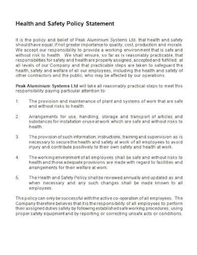 standard health and safety policy statement