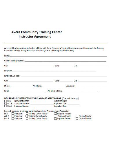standard instructor agreement
