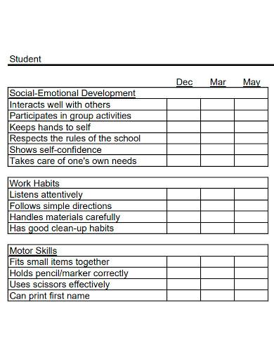standard kindergarten progress report