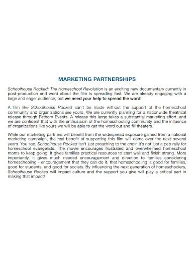 standard marketing partnership proposal