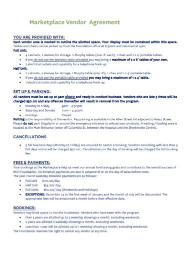 standard marketplace vendor agreement