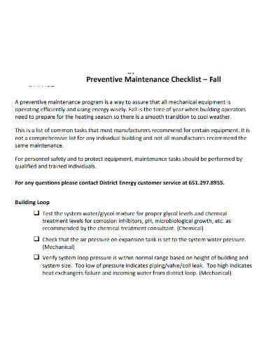 standard preventive maintenance checklist