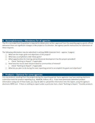 standard research performance progress report