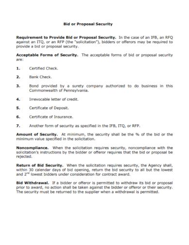 standard security bid proposal