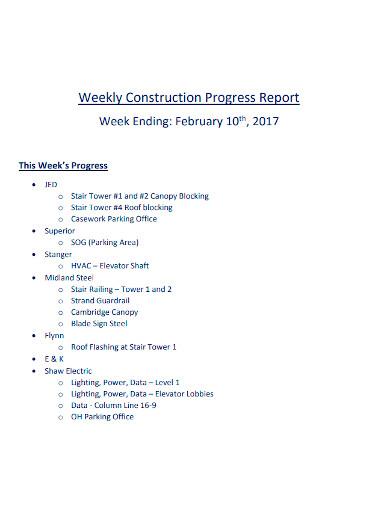 standard weekly construction progress reports