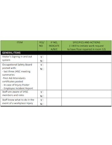 standard workplace safety inspection checklist