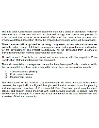 state wide construction method statement