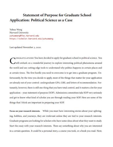 statement of purpose for graduate school application