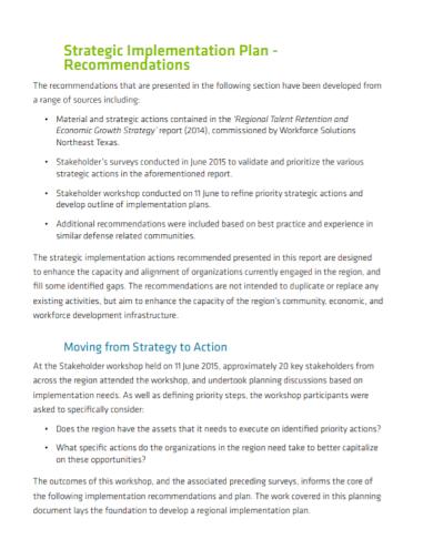 strategic action implementation plan