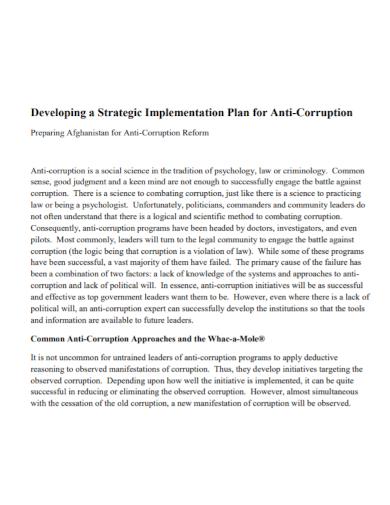 strategic development implementation plan