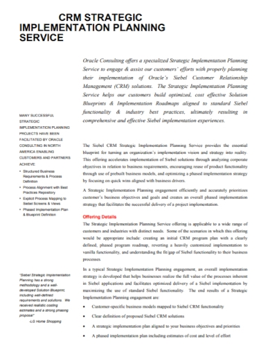 strategic implementation service plan
