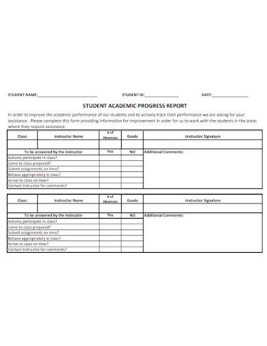 student academic progress report
