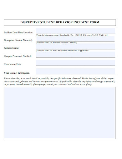 student behavior incident report form