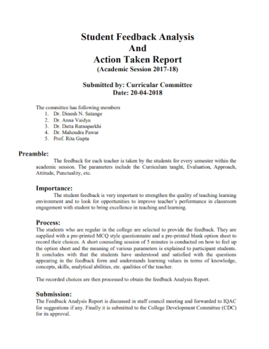 student feedback analysis action report