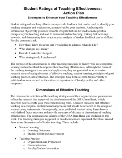 student ratings action plan for teachers