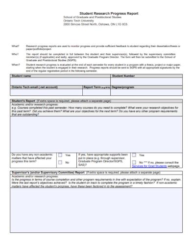 student research progress report