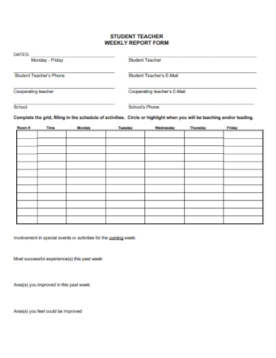 student teachers weekly report form