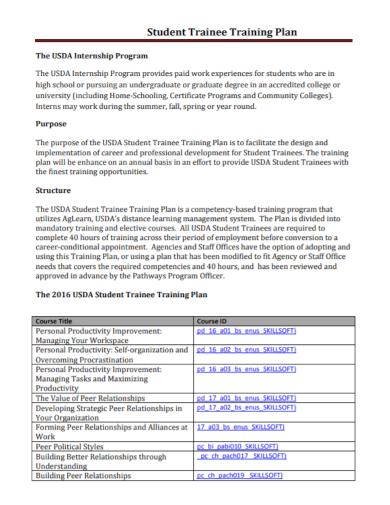 student trainee training plan