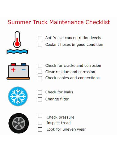 summer truck maintenance checklist