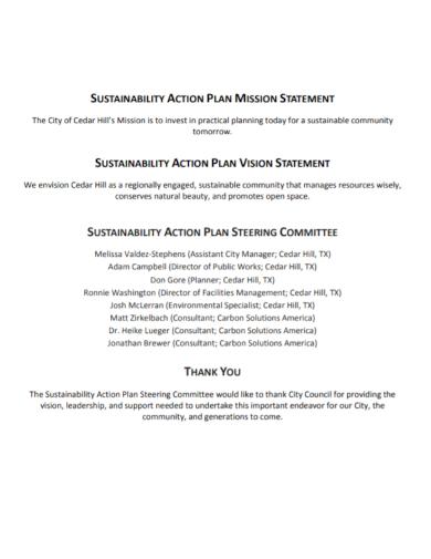 sustainability action plan statement