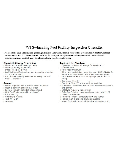 swimming pool facility inspection checklist