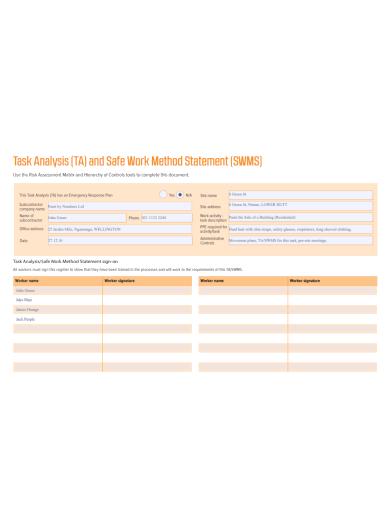 task analysis work method statement