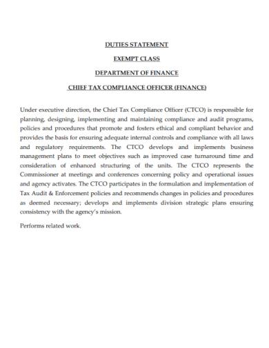 tax compliance finance officer statement