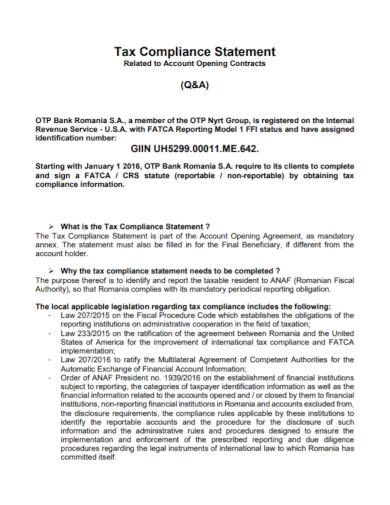 tax compliance statement