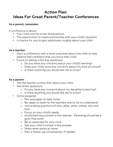 teacher conferences action plan