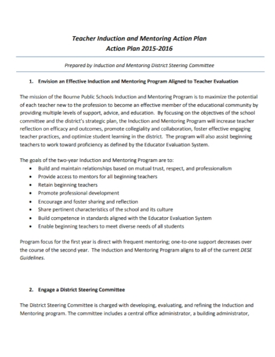 teacher induction mentoring action plan