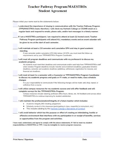 teacher program student agreement