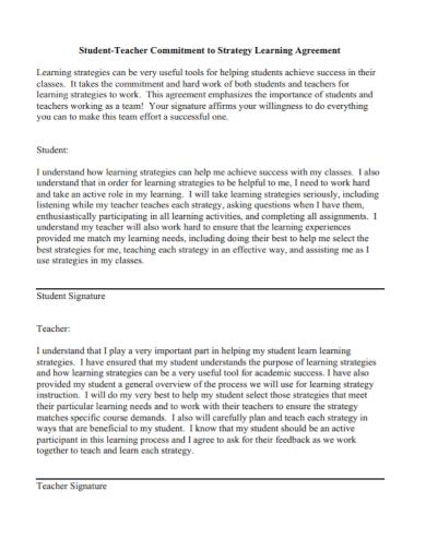 teacher student commitment agreement