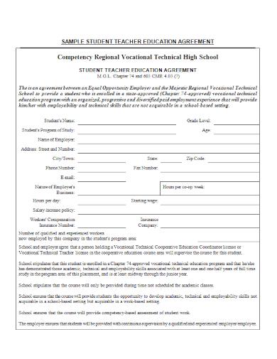 teacher student education agreement