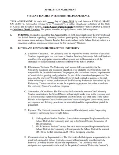 teacher student internship agreement